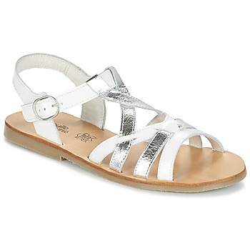 Shoes Girl Sandals Citrouille et Compagnie IMONGI White / Silver