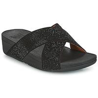 Shoes Women Mules FitFlop CRYSTAL II SLIDE SANDALS Black