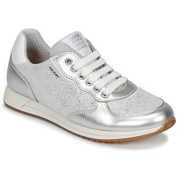 Shoes Girl Low top trainers Geox J JENSEA G. D Grey / Silver