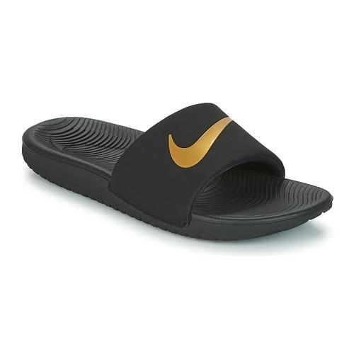 Shoes Boy Tap-dancing Nike KAWA GROUNDSCHOOL SLIDE Black / Gold