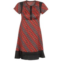 material Women Short Dresses Sisley ZEBRIOLO Red / Black