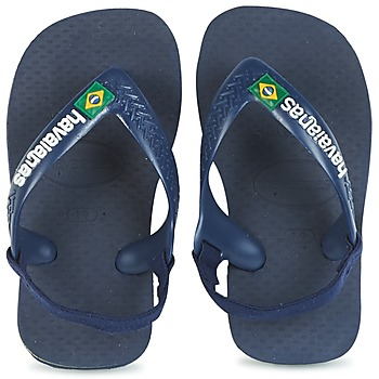 Shoes Boy Flip flops Havaianas BABY BRASIL LOGO Marine / Yellow