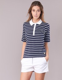 material Women short-sleeved polo shirts Armor Lux POLAED Marine / White