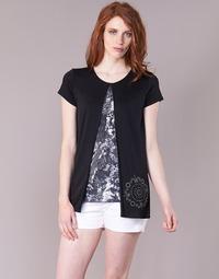 material Women short-sleeved t-shirts Desigual NUTILAD Black