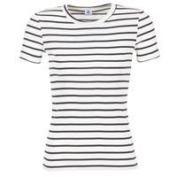 material Women short-sleeved t-shirts Petit Bateau  White / MARINE