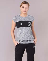 material Women short-sleeved t-shirts Philipp Plein Sport THINK WHAT U WANT Grey