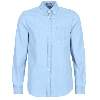 material Men long-sleeved shirts Gant THE INDIGO REG Blue
