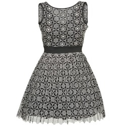 material Women Short Dresses Manoush DAISY Black / Grey