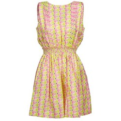 material Women Short Dresses Manoush FLAMINGO Pink / Fluorescent / Yellow