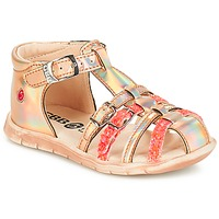 Shoes Girl Sandals GBB PERLE Pink / Fetal fluo / Nemo