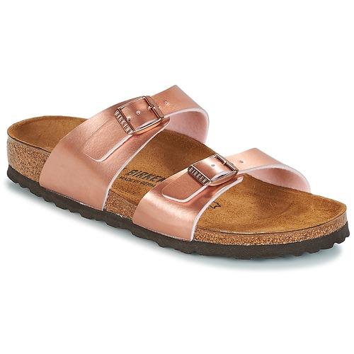 Shoes Women Mules Birkenstock SYDNEY Pink / Gold
