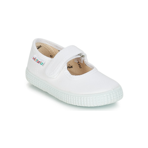 Shoes Girl Low top trainers Victoria MERCEDES VELCRO LONA White