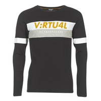 material Men Long sleeved shirts Jack & Jones JCOACE-TEE-LS-CREW-NECK Black