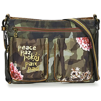 Bags Women Handbags Desigual BOLS_BAQUEIRA MILITAR FLORES Black / Multicoloured