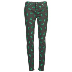 material Women slim jeans American Retro TINA Black / Green