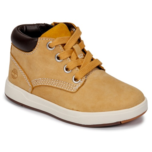 Shoes Children High top trainers Timberland Davis Square Leather Chk Brown / Wheat
