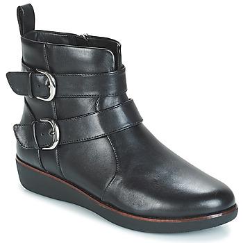 Shoes Women Mid boots FitFlop LAILA DOUBLE BUCKLE Black