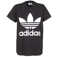 material Women short-sleeved t-shirts adidas Originals BIG TREFOIL TEE Black