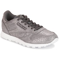 Shoes Girl Low top trainers Reebok Classic CLASSIC LEATHER J Grey / Metallic