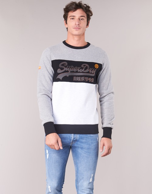 d9e795512903e Superdry VINTAGE LOGO PANEL CREW Grey   White - Fast delivery with ...