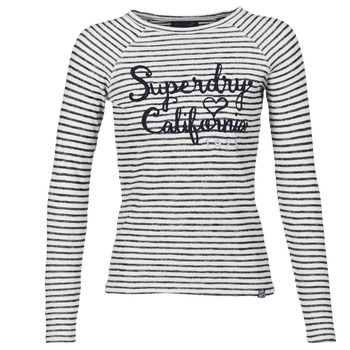 material Women Long sleeved shirts Superdry BLOSSOM RAGLAN APPLIQUE TOP White / Black