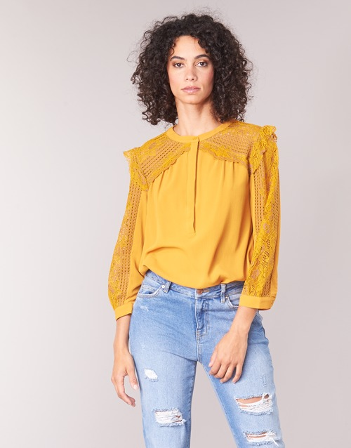 material Women Blouses See U Soon FUEGO Yellow