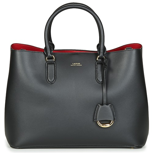 Bags Women Handbags Lauren Ralph Lauren DRYDEN MARCY SATCHEL LARGE Black / Red