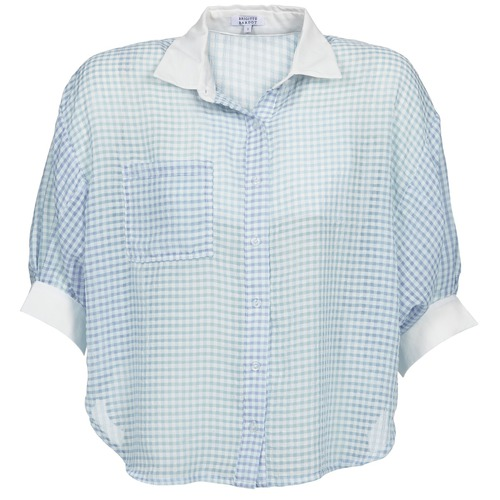 material Women Shirts Brigitte Bardot AMARANTE Blue / White
