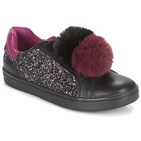 Shoes Girl Low top trainers Geox J DJROCK GIRL Black / Violet