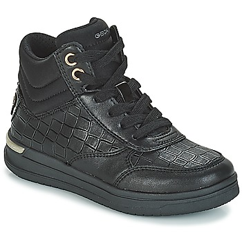 Shoes Girl High top trainers Geox J AVEUP GIRL Black / Gold