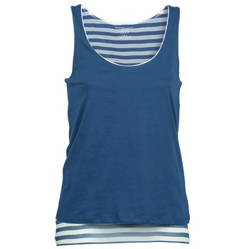 material Women Tops / Sleeveless T-shirts Majestic BLANDINE Marine / White