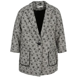 material Women coats See U Soon CARA Black / White