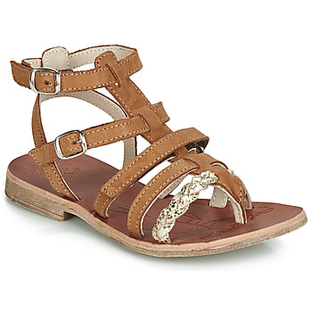 Shoes Girl Sandals GBB NOVARA Cognac / Gold