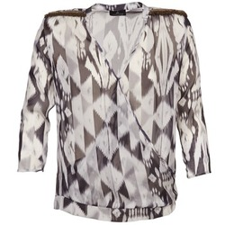 material Women Blouses One Step CREPUSCULE Grey / White