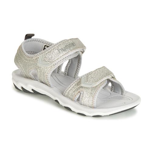 Shoes Girl Sandals Hummel SANDAL GLITTER JR Silver